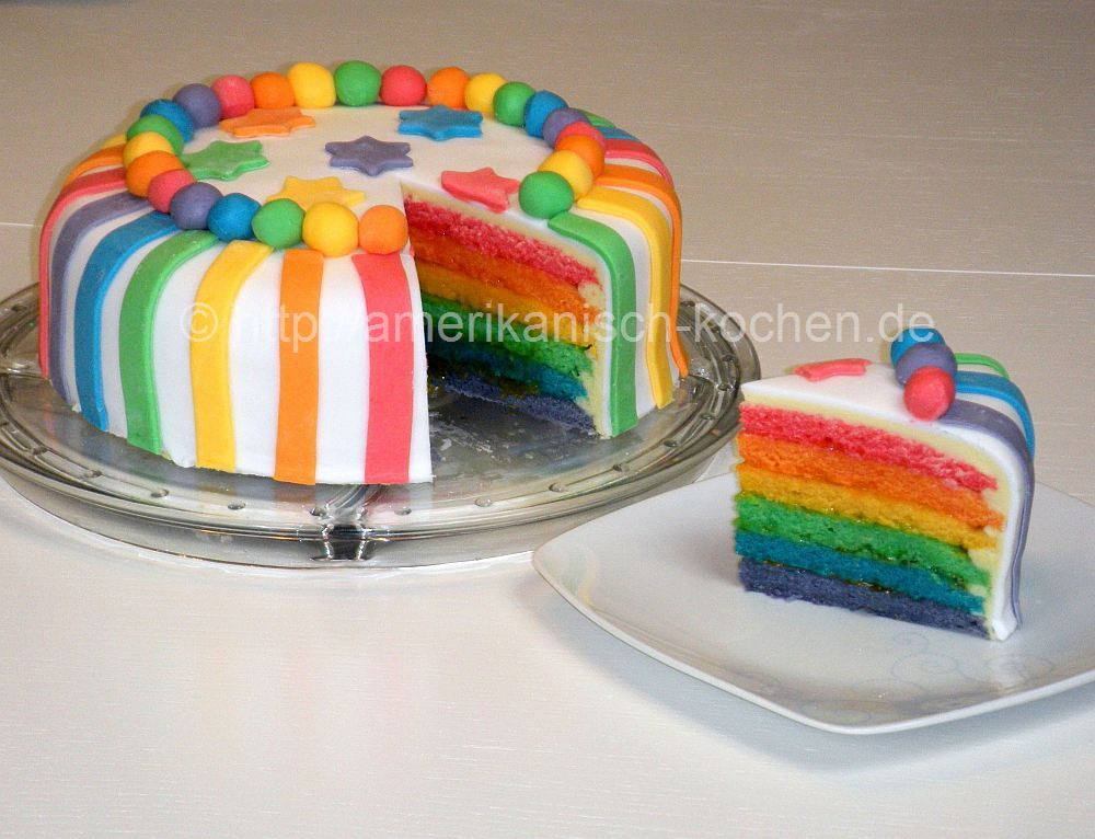rainbow cake regenbogenkuchen regenbogentorte amerikanisch. Black Bedroom Furniture Sets. Home Design Ideas