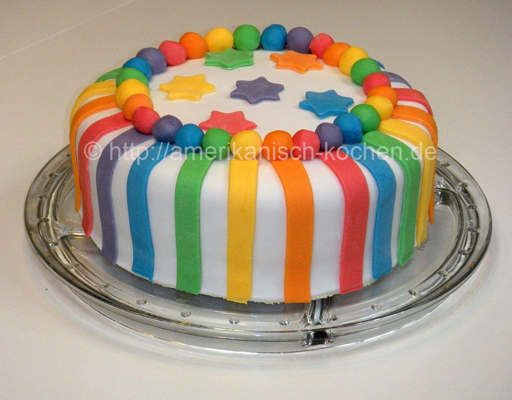 Rainbow Cake Regenbogenkuchen Mit Weisser Schokoladen Ganache Und