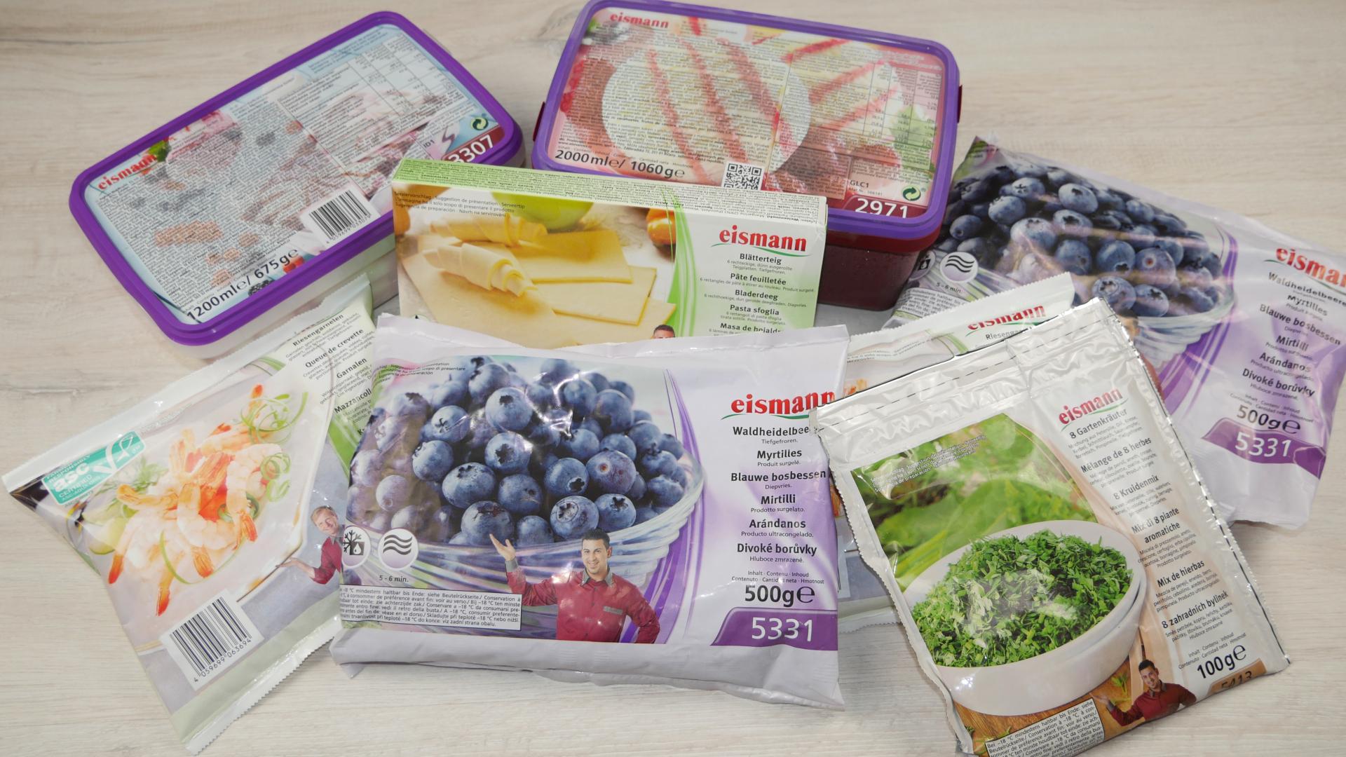 verschiedene eismann Tiefkühlprodukte zur Zubereitung der Blueberry Pie und der Tartelets