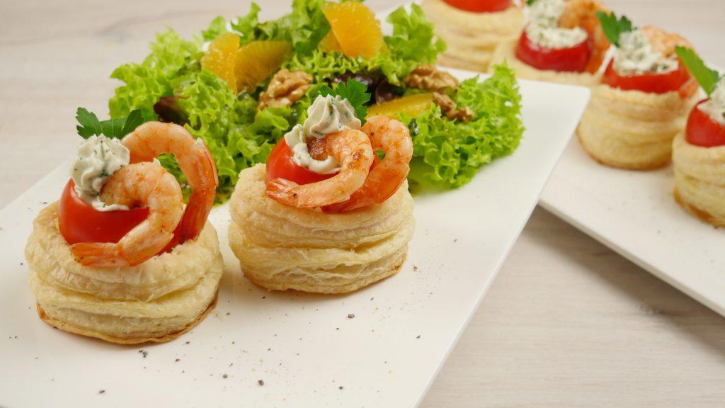 Foto der Shrimp Tartlets an Winter-Salat